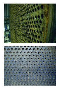 Condenser before and after cleaning